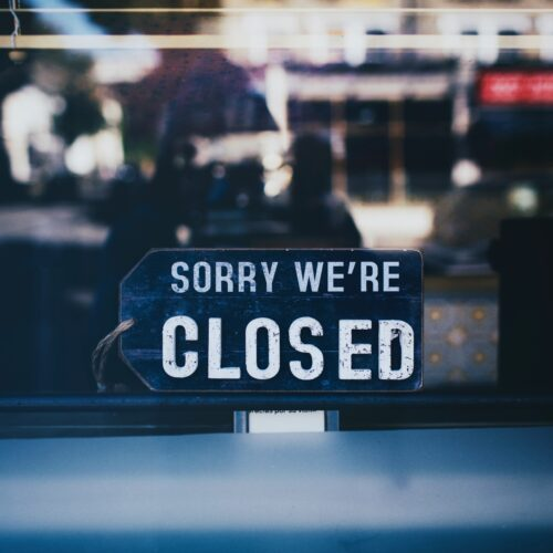Closed sign on shop front